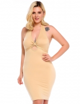 Khaki Women Fashion Halter Key Hole Sleeveless Solid Pencil Dress
