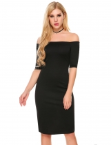 Black Short Sleeve Off Shoulder Split Pencil Dress