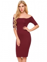 Wine red Short Sleeve Off Shoulder Split Pencil Dress