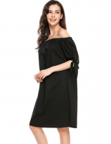 Noir Femmes Casual Slash Neck Off Shoulder Bow Bandage Loose A-Line Hem Dress