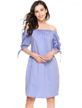 Purple Slash Neck Off the Shoulder Bow A-Line Loose Dress