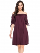 Wine red Slash Neck Off the Shoulder Bow A-Line Loose Dress