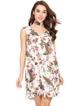 White&brown Choker Sleeveless Print Loose Chiffon Dress
