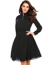 Black Stand Collar Lantern Sleeve Button Front Dress
