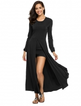 Black O-Neck Long sleeve High Slit Solid Rompers