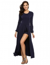 Blue O-Neck Long sleeve High Slit Solid Rompers