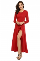 Wine red O-Neck Long sleeve High Slit Solid Rompers