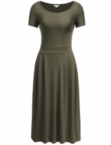 Army green Short Sleeve Solid Pleated Hem Elastic Dress