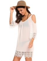 White Femmes Sexy Flare Sleeve Off Shoulder Lace Hollow Out Patchwork Chiffon Cover-Up