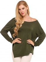 Green Solid Asymmetrical Hem Long Sleeve Casual Tops