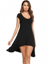 Black Scoop Neck Cap Sleeve Solid Asymmetrical Tunic Top