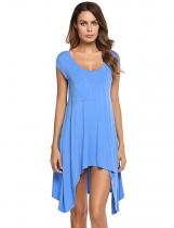 Blue Scoop Neck Cap Sleeve Solid Asymmetrical Tunic Top