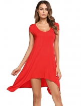 Red Scoop Neck Cap Sleeve Solid Asymmetrical Tunic Top