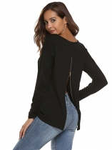 Black O-Neck Long Sleeve Solid Back Zipper Tops