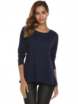 Navy blue O-Neck Long Sleeve Solid Back Zipper Tops