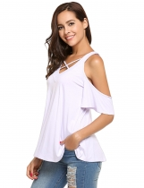 White Cross V-Neck Short Sleeve Cold Shoulder Solid Tops