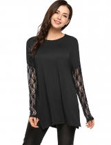 Black Mujeres Hollow Lace Camiseta de manga larga Blusa Top