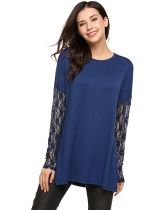 Navy blue Round Neck Patchwork Lace Long Sleeve Tops
