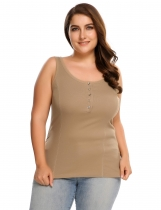 Coffee Plus Size Scoop Neck Button Front Solid Casual Tank Top