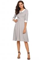 Dark gray Peter Pan Collar 3/4 Sleeve High Waist Swing Dress