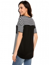 Black and White Stripes Pocket Patchwork Short Sleeve T-Shirts