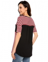 Red and White Stripes Pocket Patchwork Short Sleeve T-Shirts