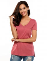 Watermelon red V-Neck Short Sleeve Solid Side Pocket Basic T-Shirts