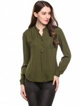 Army green Asymmetrical Hem Pullover V-Neck Long Sleeve Solid Chiffon Shirts