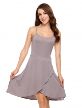 Grey Spaghetti Strap Sleeveless Faux Wrap Asymmetrical Dress