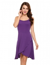 Purple Spaghetti Strap Sleeveless Faux Wrap Asymmetrical Dress