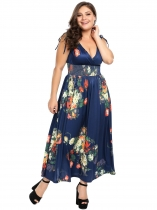 Women Plus Size Wrap Front Deep V-Neck sans manches Robe Maxi Floral