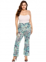 Green Plus Size Bohemian Style Printing High Waist Flare Pants