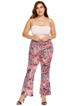 Pink Plus Size Bohemian Style Printing High Waist Flare Pants