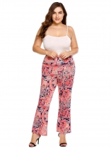 Red Plus Size Bohemian Style Printing High Waist Flare Pants