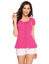 Rose red Short Sleeve Solid Elastic Hem Slim Fit Basic T-Shirts