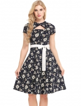 Navy blue Vintage Styles Hollow Out Prints Pleated Hem Dress