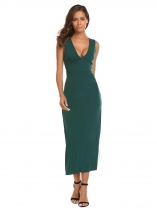 Dark green Deep V-Neck Backless Solid High Waist Slim Long Dress