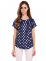 Dark blue Round Neck Short Sleeve Polka Dot Blouse