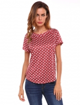 Wine red Round Neck Short Sleeve Polka Dot Blouse