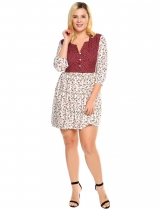 White Plus Size 3/4 Sleeve Floral Print Patchwork Dress
