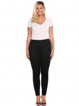 Women Plus Size Elastic Waist Solid Stretch Slim Skinny Leggings