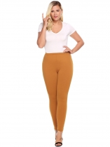 Brown Plus Size Elastic Waist Solid Stretch Slim Leggings