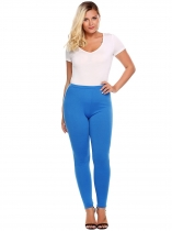Lake blue Plus Size Elastic Waist Solid Stretch Slim Leggings