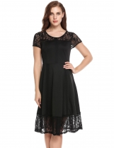 Black Vintage Styles Lace Hollow Out Patchwork Elastic Party Dress