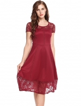 Wine red Femmes Vintage Styles Lace Hollow Out Patchwork A-Line Plissé Hem Robe élastique
