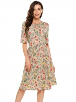 Khaki Keyhole Half Sleeve O-Neck Floral Print Dress