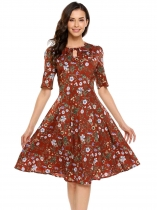 Brown Keyhole Half Sleeve O-Neck Floral Print Dress