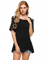 Black Cold Shoulder Solid Asymmetrical Hem Half Sleeve Tunics