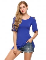 Blue Cold Shoulder Solid Asymmetrical Hem Half Sleeve Tunics