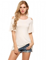 White Cold Shoulder Solid Asymmetrical Hem Half Sleeve Tunics